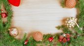 Christmas decoration with fir tree  and ornamentals gifts or pre — Stock Photo