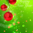 Happy New year card with red shiny balls hanging — Stock Photo #61245081