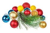 Holiday decorations isolated on white background — Stock Photo