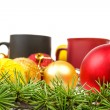 Decoration with pine or fir and many yellow and red ornaments ba — Stock Photo #61411779