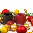 Decoration with pine or fir and many yellow and red ornaments ba — Stock Photo #61411795