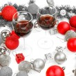 New Year decoration with pine or fir and red ornaments balls wit — Stock Photo #61412383