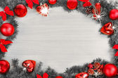 Christmas or New Year decoration with pine and balls — Stock Photo