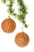 Decorative golden yellow round ball ornaments with pine  for Chr — Stockfoto