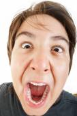 Close up of shocked and scared young caucasian chubby kid — Stock Photo