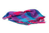 Colourful handmade neckwear or scarf of woolen knitted fabric te — ストック写真