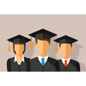 Vector education concept with students in graduation gown and mortarboard — Stock Vector