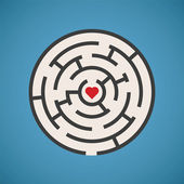 Vector heart shape maze concept — Stock Vector