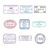 Vector international travel visa stamps for passport set — Stock Vector
