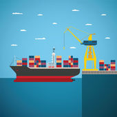 Vector concept of river ocean and sea freight shipping — Stock Vector
