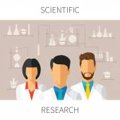 Vector concept illustration of scientific research with scientists in chemical laboratory — Stock Vector