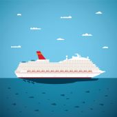 Vector illustration of big sea cruise liner in modern flat style — Vector de stock
