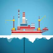 Vector concept of arctic oil and gas offshore industry — Stok Vektör