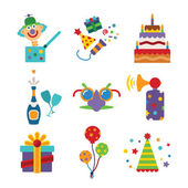 Set of vector colorful celebration icons in flat style — Stock Vector