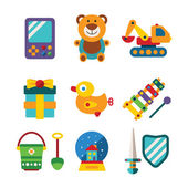 Set of vector colorful kids toys in flat style — Stock Vector