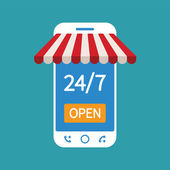 Concept of day and night online shop on modern smart phone — Wektor stockowy
