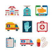 Set of vector colorful medical icons in flat style — Stock Vector