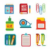 Set of vector colorful office icons in flat style — Stock Vector