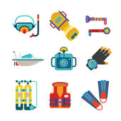 Set of vector colorful diving icons in flat style — Stock Vector