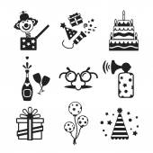 Set of vector monochrome celebration icons in flat style — Stock Vector