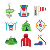 Set of vector colorful hiking icons in flat style — Stock Vector