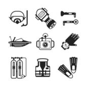 Set of vector monochrome diving icons in flat style — Stock Vector