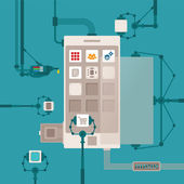 Vector concept of mobile software application development process — Stock Vector