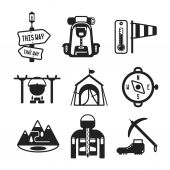 Set of vector monochrome hiking icons in flat style — Stock Vector