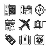 Set of vector monochrome travel icons in flat style — Stock Vector