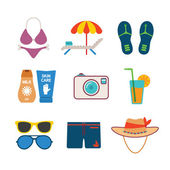 Set of vector colorful beach vacations icons in flat style — Vector de stock