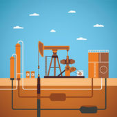 Vector concept of equipped oil well — Stock Vector