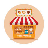 Bake shop or baking store vector concept — Stock Vector