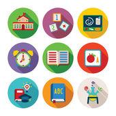 Set di icone vettoriali di educazione colorati in stile piano — Vettoriale Stock