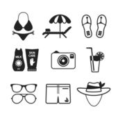 Set of vector monochrome beach vacations icons in flat style — Stock Vector