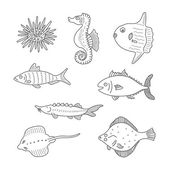 Set of monochrome vector doodle fishes and sea dwellers isolated on white background — Stock Vector