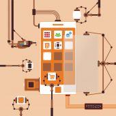 Vector concept of mobile software application development process — ストックベクタ