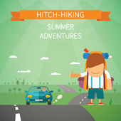 Hitchhiking vector concept — Stock Vector