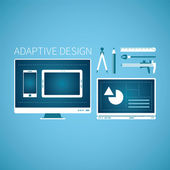 Adaptive web graphic design development vector concept in flat style — Stock Vector