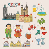 Vector Czech Republic Doodle Art for Travel and Tourism — Stock Vector