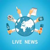 Live news vector concept in modern flat style — Stock Vector
