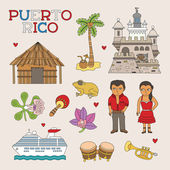 Vector Puerto Rico Doodle Art for Travel and Tourism — Stock Vector