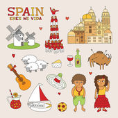 Vector Spain Doodle Art for Travel and Tourism — Stock Vector