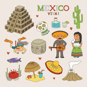 Vector Mexico Doodle Art for Travel and Tourism — Stock Vector