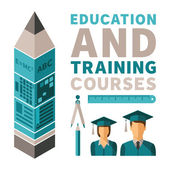 Education and training courses vector concept in flat style — Stock Vector