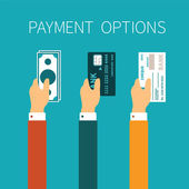 Vector concept of payment options in flat style — Stock Vector