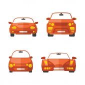 Set of different vector passenger cars in flat style — Stock Vector