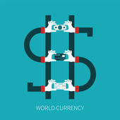 World currency vector concept in flat style — Stock Vector