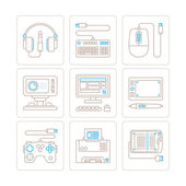 Set of vector electronics icons and concepts in mono thin line style — Wektor stockowy