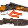 Постер, плакат: Hunting rifle with cartridges and knife in case
