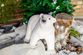 Christmas photo with polar bear — Stock Photo
